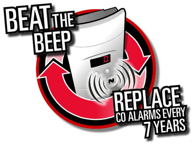 Beat the beep, replace CO alarms every 7 years.  (PRNewsFoto/Kidde)