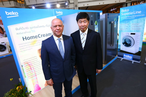 (Left) Mr. Levent Cakiroglu, global CEO of Arcelik A.S., the owner of the Beko brand (Right) Mr. Dhevan Liauburindr, President, Titanco International Co., Ltd. (PRNewsFoto/Beko Thailand)