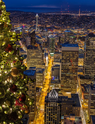 Seattle Holiday Lights looking north from Columbia Center's Sky View Observatory.  (PRNewsFoto/Sky View Observatory, Mike Reid)