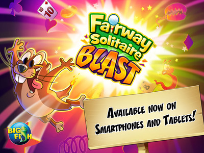 """Fairway Solitaire Blast, now available for free download and play on all mobile devices, is a new chapter designed to give Fairway Solitaire fans a reason to have two unbreakable solitaire addictions. With new arcade-style power-ups, social play, and more hand-crafted solitaire layouts, Blast complements the core card-flipping action that earned Fairway Solitaire multiple """"Game of the Year"""" nominations while creating its own addictive experience.  (PRNewsFoto/Big Fish)"""