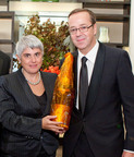 Angeliki Frangou, the generous $18,000 buyer of a jeroboam of Champagne Louis Roederer Cristal Rose 2002 benefiting Grapes for Humanity, joins Champagne Louis Roederer Group President and CEO Frederic Rouzaud. (PRNewsFoto/Maisons Marques & Domaines USA, Inc.)