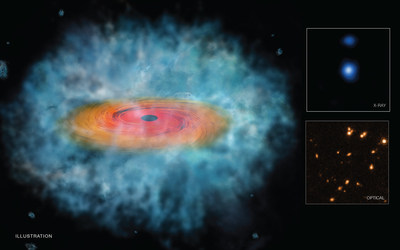 This illustration represents the best evidence to date that the direct collapse of a gas cloud produced supermassive black holes in the early Universe. Researchers combined data from NASA's Chandra, Hubble, and Spitzer telescopes to make this discovery.