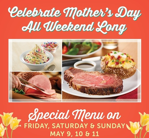Ryan's, HomeTown Buffet, and Old Country Buffet are making Mother's Day a weekend long affair. Visit any of the 328 home-style buffet restaurants from Friday, May 9 through Sunday, May 11 to enjoy an exclusive Mother's Day menu including traditional ham, Prime Rib entrees and a special dessert. Menus vary by location. (PRNewsFoto/Ovation Brands)