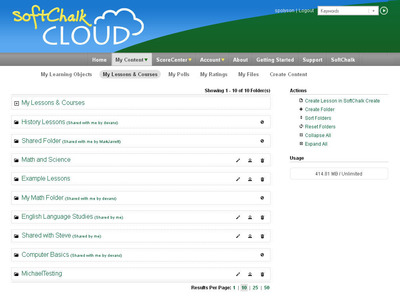 A peek inside SoftChalk Cloud. This comprehensive product allows educators to easily create, organize, store and share lesson plans and other content from one location.