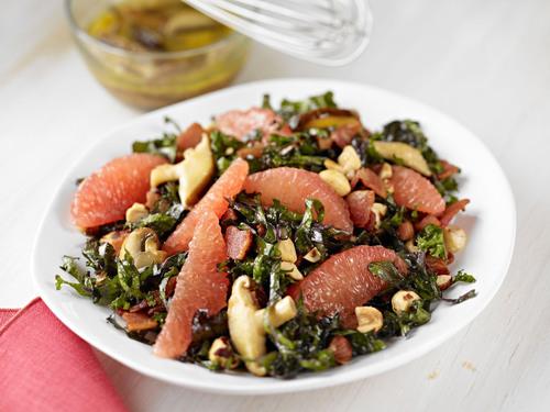 Kale and Grapefruit Salad with Warm Bacon Wild Mushroom Dressing. (PRNewsFoto/Florida Department of Citrus) ...