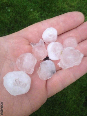Hail in Owensville, IN.  (PRNewsFoto/ACME AtronOmatic)