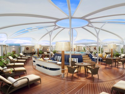 "Rendering of Ultimate Serene Area, ""The Retreat"" on Seabourn Encore"