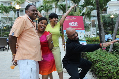 "Co-hosts of The Steve Harvey Morning Show (L-R: Kier ""Junior"" Spates; Monica Barnes, producer; Shirley Strawberry; Thomas ""Nephew Tommy"" Miles)"