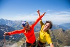 adidas Outdoor athletes Sasha DiGiulian and Carlo Traversi atop Magic Mushroom route on the North Face of the Eiger