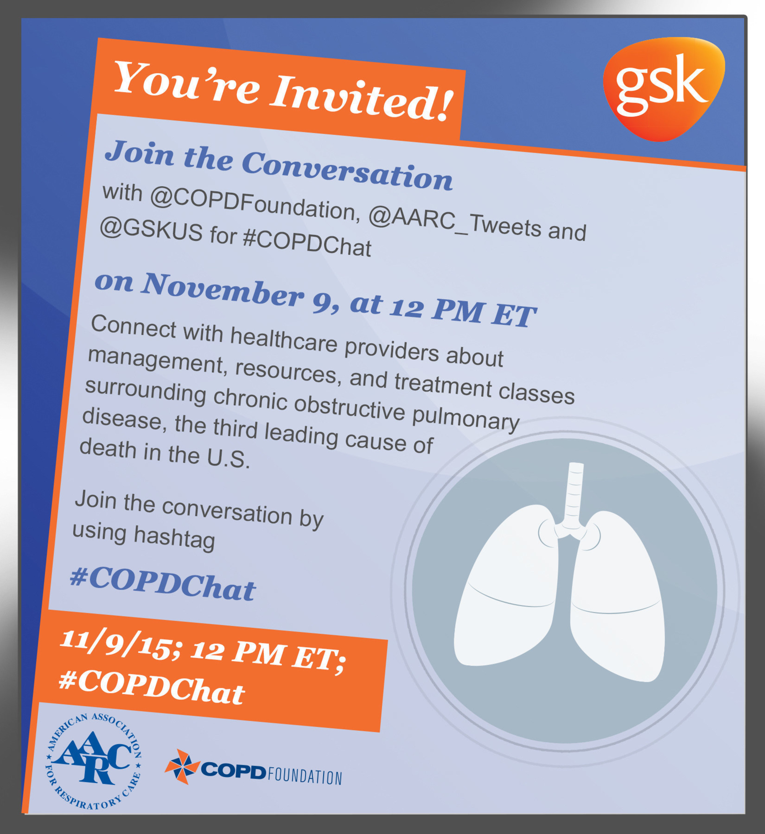 GSK, COPD Foundation and AARC Team Up for #COPDChat, November 9th, 12 pm ET