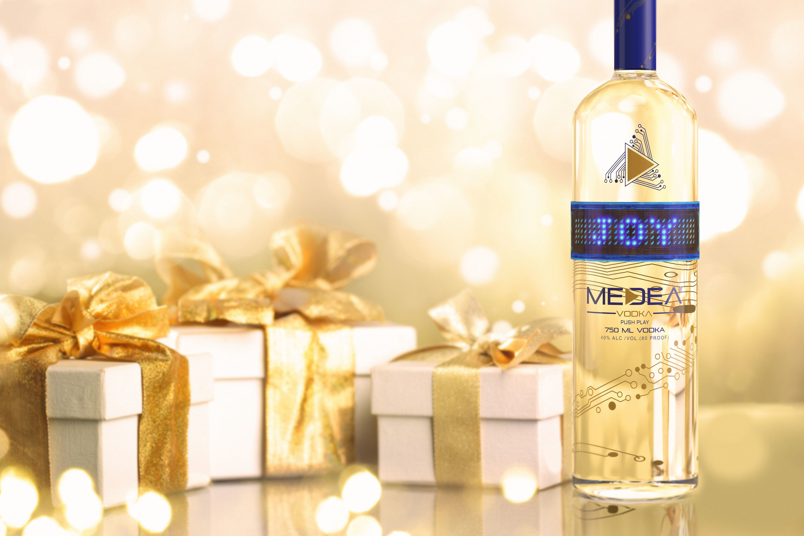 Medea Vodka new bluetooth programmable bottles send the perfect message just in time for the holiday season.