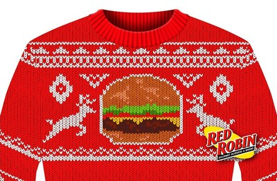 "Calling all ugly holiday sweater wearers: you are cordially invited to the ultimate holiday get-together! Red Robin Gourmet Burgers, Inc. (Red Robin) will warm up for the holidays on Wednesday, December 10, and host the ""World's Largest Ugly Sweater Party"" at participating restaurants nationwide. Guests who visit Red Robin decked out in their best, most fabulously festive ""ugly holiday sweater"" will receive a FREE* appetizer with qualifying purchase in exchange for being part of the nationwide celebration."