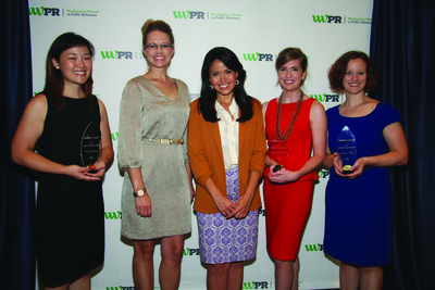 Angie Goff with WWPR Emerging Leader Awards Winners and WWPR President Tina McCormack Beaty.  (L to R): Olivia Doherty of The Hatcher Group, Tina McCormack Beaty, Angie Goff, Laura Hornbuckle of Edelman Public Relations, Jennifer Myers of StrategyOne.  (PRNewsFoto/Washington Women in Public Relations)