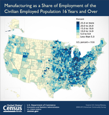 Manufacturing as a share of employment of the civilian employed population 16 years and over. (PRNewsFoto/U.S. Census Bureau)