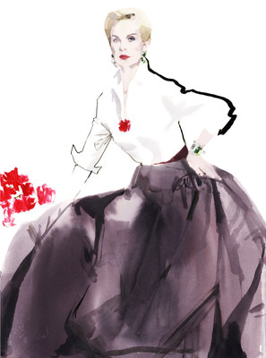 Carolina Herrera to be honored by Savannah College of Art and Design with the university's prestigious Etoile Award, given in recognition of Herrera's outstanding contributions to fashion, culture and design. Illustration by David Downton, 2012. Image courtesy of the artist.