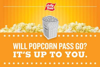 Poppin' mad: JOLLY TIME(R) Pop Corn petitions Hasbro to consider popcorn MONOPOLY(TM) game piece.  (PRNewsFoto/JOLLY TIME Pop Corn)