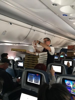 Passengers on a Delta flight diverted to Knoxville received Marco's Pizza from the flight crew (Photo Courtesy of Delta Airlines).