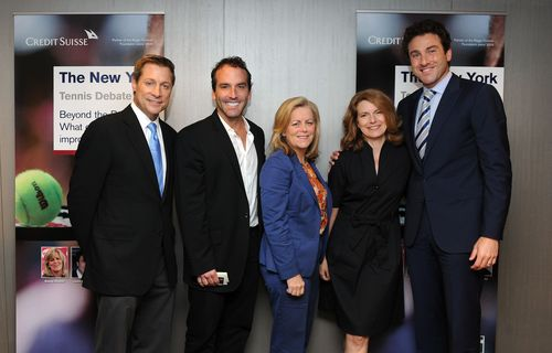 From left to right: Bill Macatee - broadcaster for CBS Sports, Lorne Abony - Chairman and CEO of Mood Media and a member of the ATP's Competition Committee, Stacey Allaster - Chairman and CEO of the WTA, Janine Haendel - CEO of the Roger Federer Foundation and Justin Gimelstob - tennis broadcaster and a member of the ATP's board (PRNewsFoto/Credit Suisse AG)