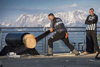 New Zealander Jason Wynyard (here at the Single Buck) is sevenfold World Champion but had to give in to the superiority of the Australian competitor Brayden Meyer during the Champions Trophy 2016. Picture credit: STIHL TIMBERSPORTS(R) Series (PRNewsFoto/STIHL TIMBERSPORTS Series)