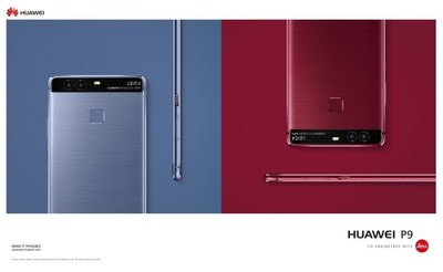 Huawei P9 now catwalk-ready in new colours - Red & Blue (PRNewsFoto/Huawei Consumer Business Group)