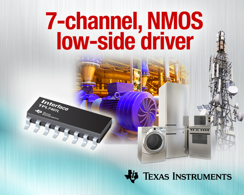 Industry's first 7-channel NMOS low-side driver for high-voltage systems (PRNewsFoto/Texas Instruments)