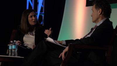 FTC Commissioner Julie Brill and Ron Urbach of Davis & Gilbert LLP.  (PRNewsFoto/PMA)