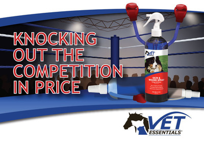 VetEssentials Skin & Wound Spray provides a cost effective alternative to competing wound cleansers on the market.  (PRNewsFoto/VetEssentials(R))