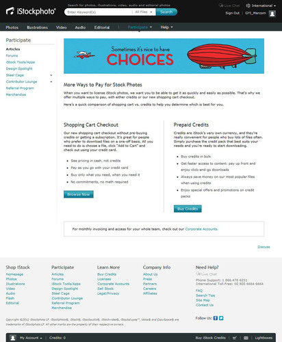 iStockphoto Now Offers Customers the Choice of Paying for Downloads with Credit Cards or Credits