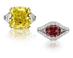 "Left: ""The Golden Muse"" 25.71-Carat Fancy Vivid Yellow Diamond Ring. Right: ""The Trilogy"" 1.59-Carat Argyle Fancy Red Diamond Ring. GIA Certified. For more information visit theoneandonlyone.com"