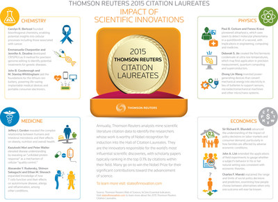 Thomson Reuters announces the 2015 Citation Laureates, candidates for Nobel Prizes this year. Go to stateofinnovation.com. Vote at https://tmsnrt.rs/1KuVWP6.