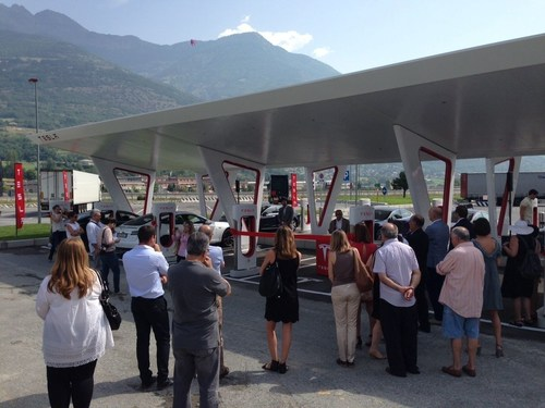 Aosta Supercharger opening ceremony on July 3rd. (PRNewsFoto/Tesla Motors Inc) (PRNewsFoto/Tesla Motors Inc)