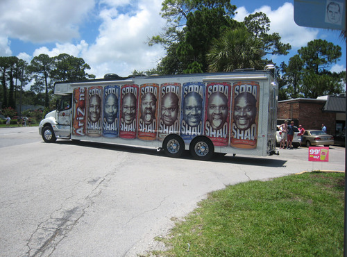 Look for Shaquille O'Neal's custom wrapped Soda Shaq RV on the hot streets of New York City for a ...