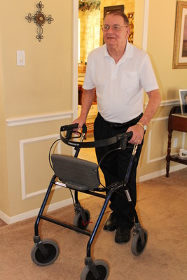 Gregory Gedovin, 70, walks around his Houston home. His Medicare Advantage health plan, WellCare of Texas, sent a nurse to his home to help him get orthotics to improve his gait and reduce his fall risk, assist with his medication regime, and check in to make sure he was attending physical therapy to regain his strength. The nurse also helped him find a new primary care physician.