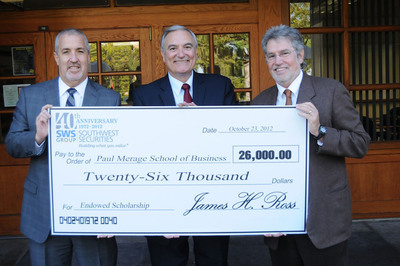 (Left to right) Southwest Securities, Inc. Executive Vice President Michael Urman, Dr. Andrew J. Policano, Dean of The Paul Merage School of Business at the University of California - Irvine, and Southwest Securities Executive Vice President Miles Benickes.  (PRNewsFoto/SWS Group, Inc.)