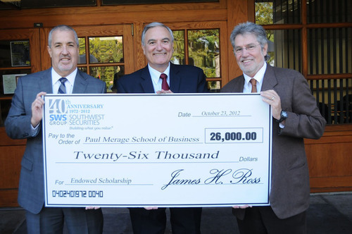 (Left to right) Southwest Securities, Inc. Executive Vice President Michael Urman, Dr. Andrew J. Policano, Dean  ...