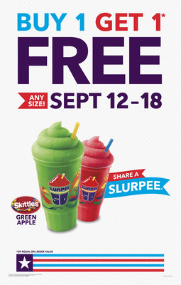 Buy One-Get One FREE Slurpee Drink Sept. 12-18 at 7-Eleven Stores!