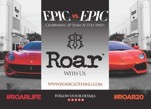 Roar Clothing Presents Epic vs. Epic: Lamborghini Aventador versus Ferrari F12 Berlinetta, in celebration of its 20th Anniversary. (PRNewsFoto/Roar Clothing)