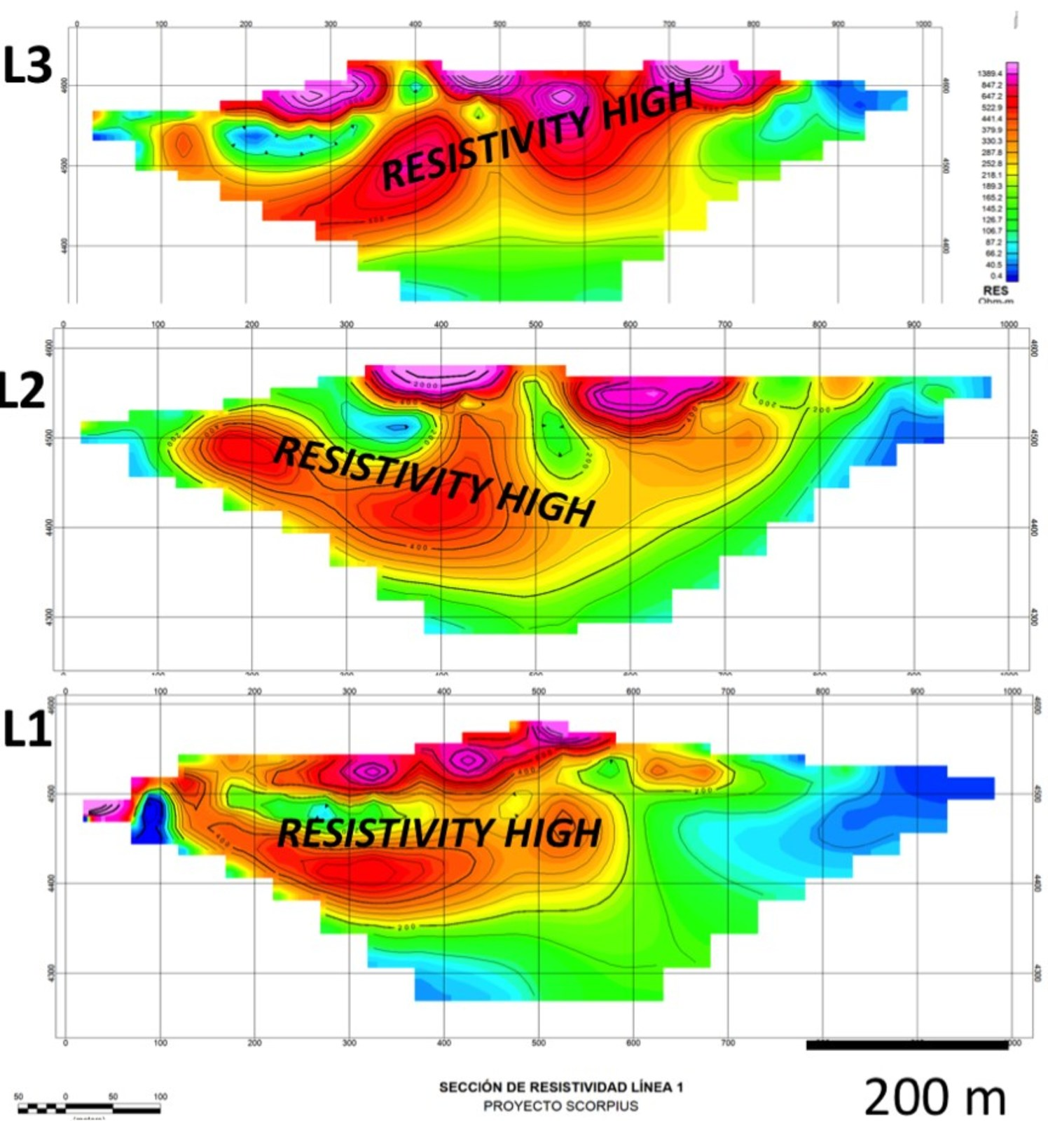 Figure 3 IP showing high resistivity horizon in red