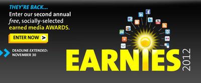 PR Newswire's Earnies Awards Program - Submission Deadline, November 30th, 2012 www.agilitycommunity.com.  (PRNewsFoto/PR Newswire Association LLC)