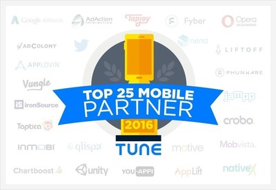 Mobvista ranked TUNE TOP 25 Global Advertising Partner 2016, as China's only ad platform selected