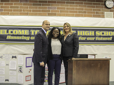Celebrating USDOE Investing in Innovation $3 Million Grant announced today at Edward White High School with (from left to right) Superintendent of Duval Public Schools Nikolai Vitti, TSIC Alumna Melkevia Morris  and TSIC President and CEO Madeline Pumariega