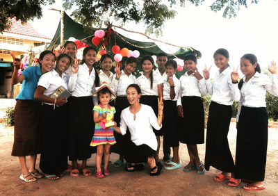TATCHA Founder Victoria Tsai, center, with her daughter, Alea, and students enrolled in Room to Read's Girls' Education program in Siem Reap, Cambodia last month. TATCHA has funded more than 90,000 days of school through the 'Beautiful Faces, Beautiful Futures' initiative that began in January 2014, which provides one day of school and support for each full-size skin care purchase from TATCHA.com or through one of the company's retail partners. The figure is three times the initial annual estimates the company had projected when the 1 Purchase = 1 Day of School initiative began.