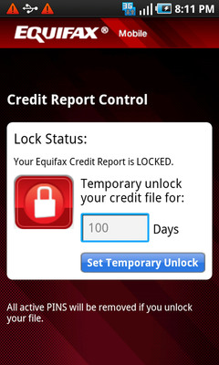 Equifax Credit Report Control(TM)--Lock and unlock your Equifax Credit Report in real-time.  (PRNewsFoto/Equifax)