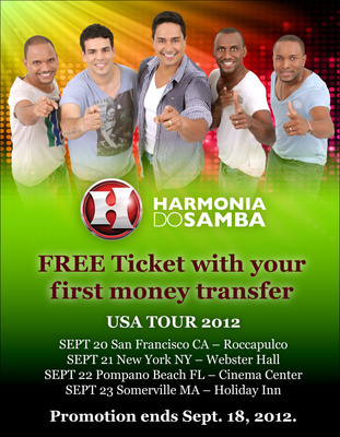 Send your first Xoom.com money transfer to Brazil and receive a free ticket to see Harmonia do Samba.  (PRNewsFoto/Xoom Corporation)