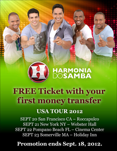 Send your first Xoom.com money transfer to Brazil and receive a free ticket to see Harmonia do Samba.  ...