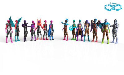 IAmElemental's female superhero action figures include (L-R) Series 1/Courage: Bravery, Honesty, Fear, Enthusiasm, Energy, Industry and Persistence; and Series 2/Wisdom: Creativity, Ingenuity, Curiosity, Logic, Exploration, Mastery and Oblivion.  All figures are available individually at MSRP $10.99 or as complete sets in a Lunchbox Carry Case at MSRP $69.99, in retail stores worldwide and at www.iamelemental.com.  Image Credit: IAmElemental