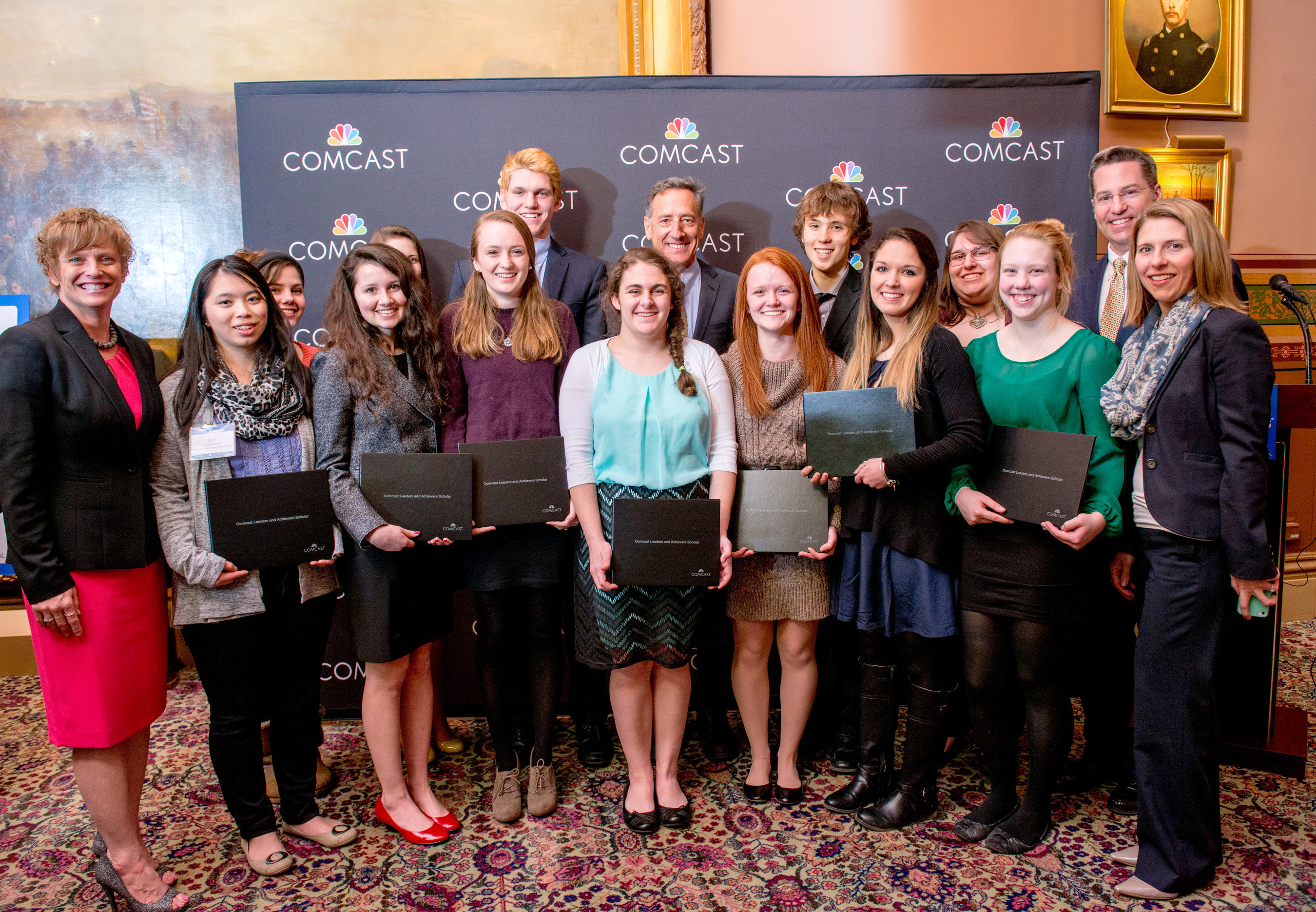 Vermont students receiving Comcast Leaders and Achievers scholarships with  Governor Shumlin at Vermont State House March, 18, 2015
