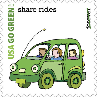 U.S. Postal Service Encourages Ride Sharing. Postage Stamps Remind America to Go Green.  (PRNewsFoto/U.S. Postal Service)
