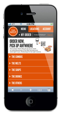 The Melt: Mobile Ordering Screenshot.  (PRNewsFoto/THE MELT)