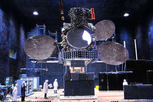 Satmex 8 is shown here in the antenna test facility at Space Systems/Loral before it was shipped to launch ...